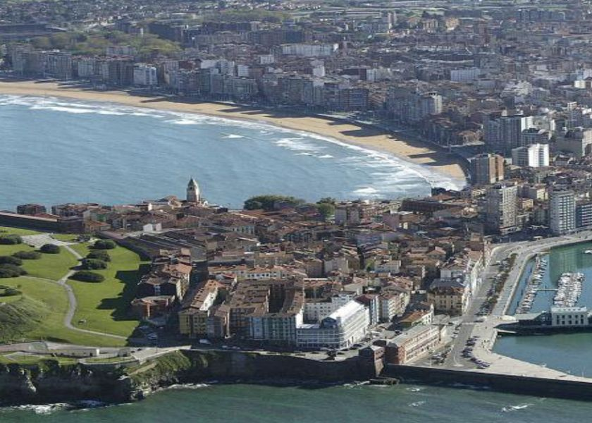 Gijón-Aerial view of the urban center