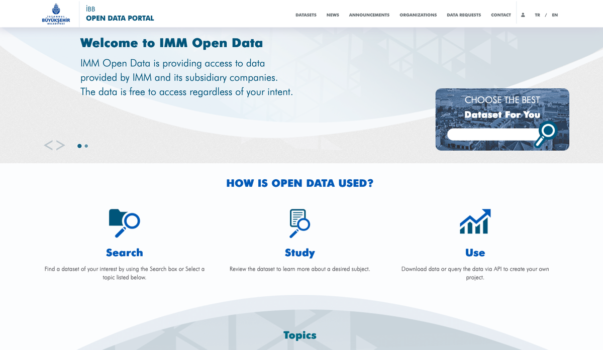 IMM Open Data Portal - Image provided by the City of Istanbul