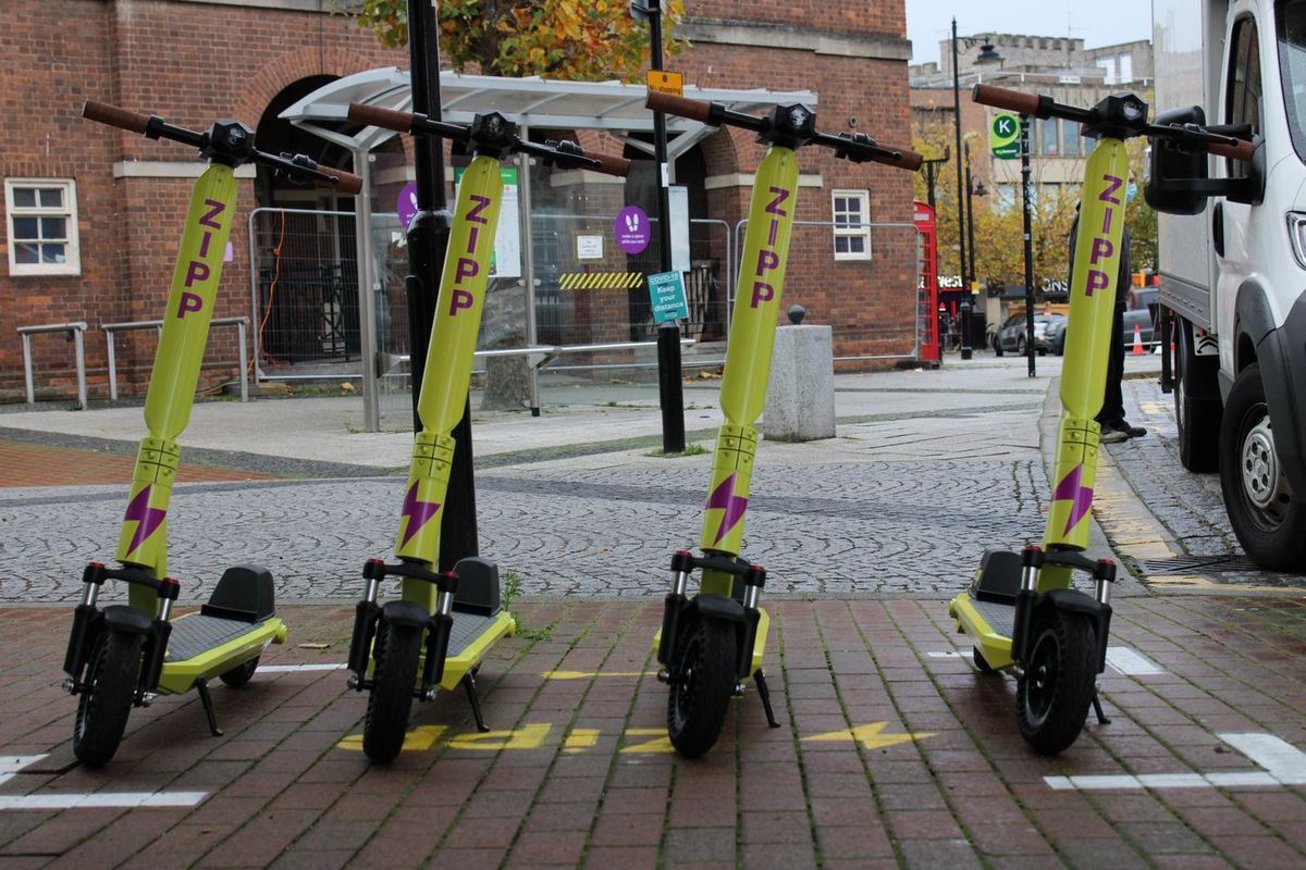 Scooters in a parking bay